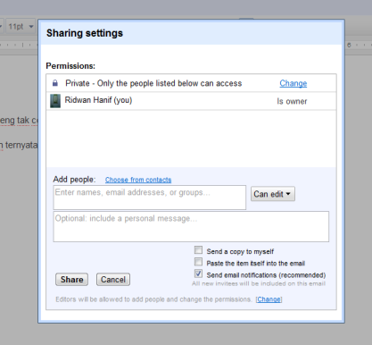 sharing settings google docs
